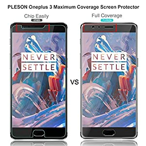 OnePlus 3 Screen Protector [3D Full Coverage], PLESON® [3-PACK] Screen Protector for OnePlus 3 [Edge to Edge], Curved Edge / Extreme HD Clarity / Anti-Bubble Invisible Shield Film-LIFETIME WARRANTY by PLESON