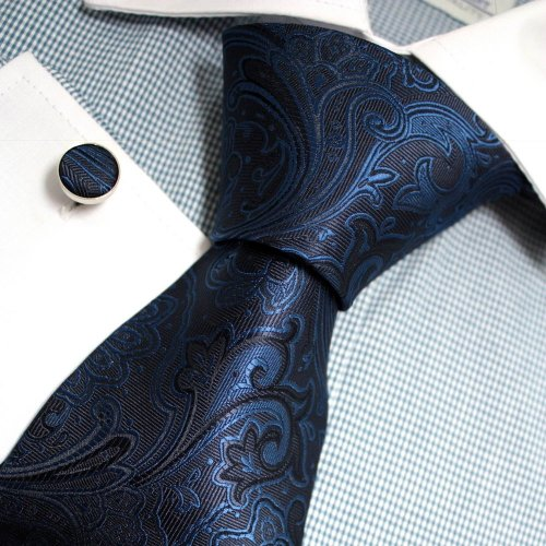 Blue Patterned Woven Silk Tie Hanky Cufflinks Gift Box Set dodger blue gift man Pointe Tie PH1145