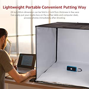 ESDDI Photo Studio Light Box 24/60cm Adjustable Brightness Portable Folding Hook & Loop Professional Booth Table Top Photography Lighting Kit 120 LED