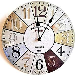 Horloge murale design londres kensington shabby chic 30cm - Horloge murale geante design ...
