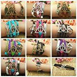 Harry Potter Deathly Hallows, Infinity, Owl, Believe Freedom Braided Leather Bracelet