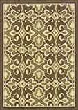 "Granville Rugs Monterey Indoor/Outdoor Area Rug, Green/Cream/Brown, 3' 7"" x 5' 6"""
