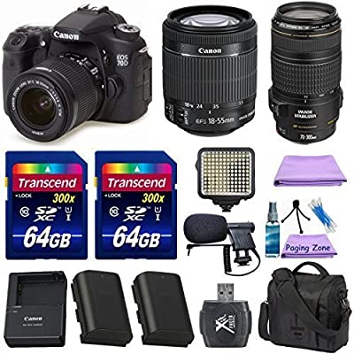 Canon EOS 70D Digital SLR Camera + Canon EF-S 18-55mm IS STM Lens + Canon EF 70-300mm f/4-5.6 IS USM Lens + Extra Battery + 2pc 64GB Memory Cards + Deluxe Case + LED Light + Paging Zone Cleaning Kit