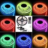 Besdata 16.4ft 5M Waterproof Rope Lights 300 LED 5050 SMD Color Changing RGB +12V 5A Power Supply + 44 Key Remote + IR Controller - Muliti-colored - PL709A