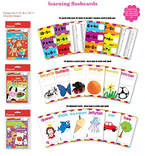 ABC Math Flash Cards Alphabet, Multiplication, Division, Subtraction, Addition, Spelling Flash Cards Wipe Clean Includes Marker & Eraser
