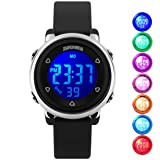 Kids Digital Waterproof Watch for Girls Boys, Sport Outdoor LED Electrical Watches with Luminescent Alarm Stopwatch Child Wristwatch (Black)