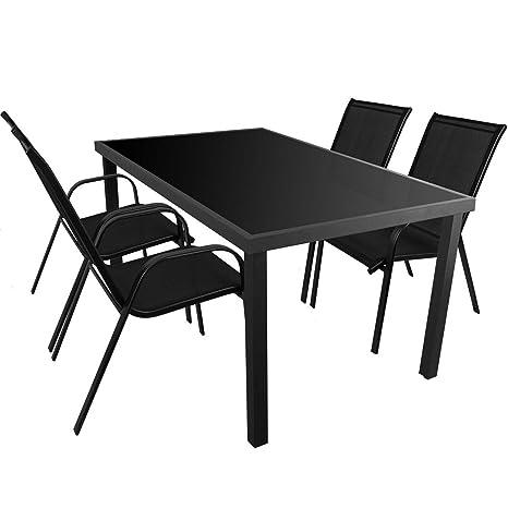 5tlg. Gartenmöbel Set Aluminium Glastisch 150x90cm + 4x Stapelstuhle mit Textilenbespannung Sitzgruppe Sitzgarnitur Gartenmöbel Balkonmöbel Terrassenmöbel