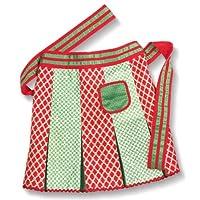 Retro Christmas Hostess Apron - Alternating Red & Green Damask
