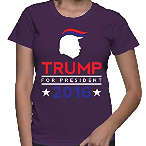 WOMENS Donald Trump For President 2016 T-shirt (Medium, PURPLE)