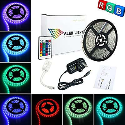 ALED LIGHT® 16.4ft 5M Waterproof 3528 RGB 300 Led Strip Light Full Kit With 24Key IR Remote +2A UK Plug Power Supply For Home and Kitchen Decoration