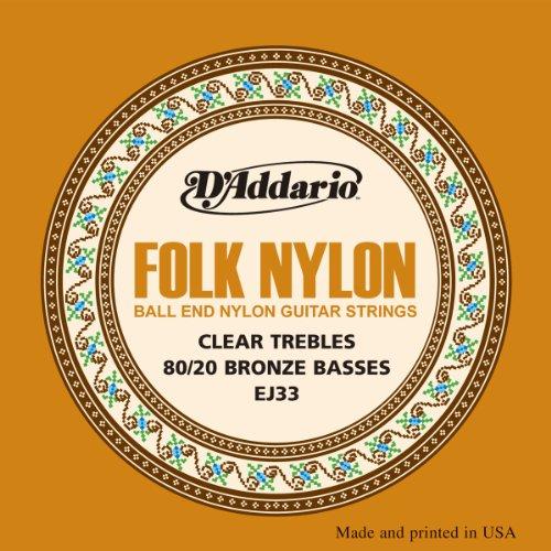 D'Addario EJ33 Folk Nylon Guitar Strings, Ball