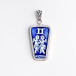 Broken China Jewelry Alfred Mekin Gemini Zodiac Sterling Pendant