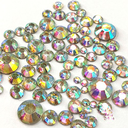 400 pcs 2mm - 6mm Resin Crystal AB round Rhinestones Flatback Mix SIZE ~ M1 - 30 (Crystals Crafts compare prices)