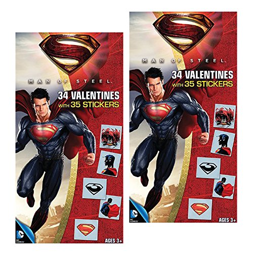 Superman (2 Pack) Deluxe 34 Count Valentine Exchange Cards with 35 Bonus Stickers