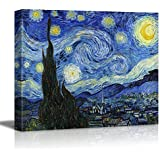 """wall26® - Starry Night by Vincent Van Gogh - Canvas Wall Art Modern Home Decor Bedroom and Living Room Decorations Oil Painting Reproduction 