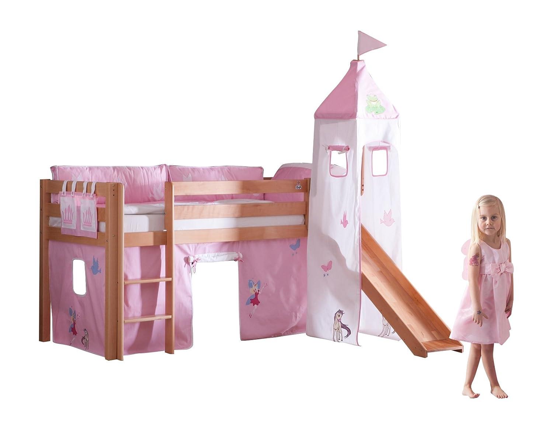 Relita BH1011114+TX5012036+TX5032036-M1 Halbhohes Spielbett ALEX mit Rutsche / Turm, Maße 210 x 113 x 220 cm, Liegefläche 90 x 200 cm, Buche massiv natur lackiert, Stoffset Prinzessin günstig online kaufen