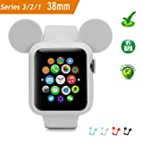 Apple Watch Case 38MM (Gray), Mickey Mouse Ears Soft Silicone Protective Cover for iWatch Series 3/Series 2/Series 1 Sport/Edition/Nike+ by pipigo (Color: MICKEY-GRAY, Tamaño: 38 mm)