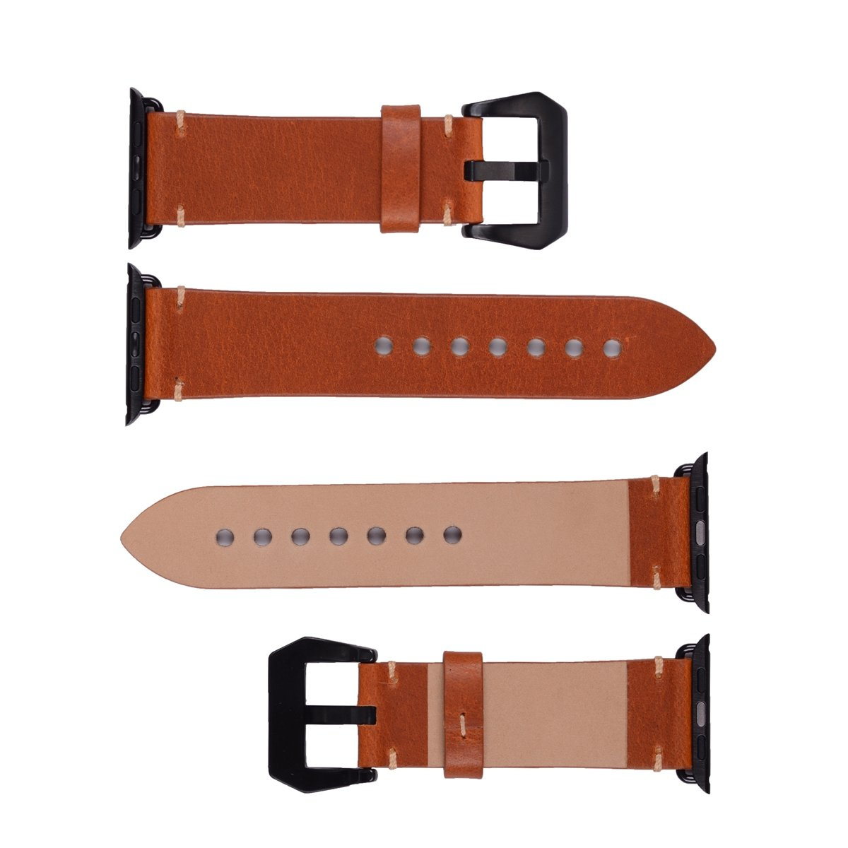 Apple Watch Band ,Vintage Vegetable Tanned Leather Watch Band For I Watch 42mm With Black Adaptor Light Brown 4