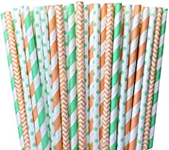 Peach and Mint Green Chevron Polka Dot and Striped Paper Straws Birthday Party Supply- Baby or Bridal Shower Wedding 100%Biodegradable 7.75 Inches Pack of 100