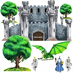 Huge Medieval Castle, Dragon, Knight Wall Mural Sticker