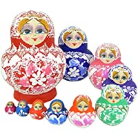 Winterworm 10pcs Colorful Children Wooden Toys Matryoshka Doll Russian Nesting Dolls Wishing Doll Collectible...
