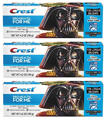 Crest Pro-Health JR. Star Wars, For Longer Brushing, Minty Breeze Toothpaste, 4.2 Oz. Pack of 3. (Crest Pro Health Minty Breeze compare prices)
