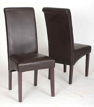 set 2 esszimmerstuhl hochlehner aus pu leder holz in braun antik ca 45x65x104 cm bxtxh db781. Black Bedroom Furniture Sets. Home Design Ideas