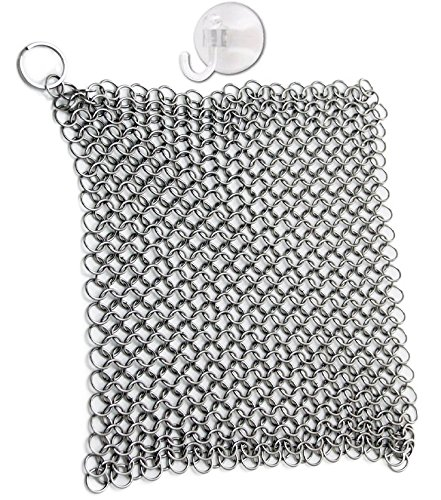 Chef's Star Stainless Steel Chainmail Cast Iron Cleaner and Scrubber, XL 8x6 Inch 316L Highest Grade with Suction Hook