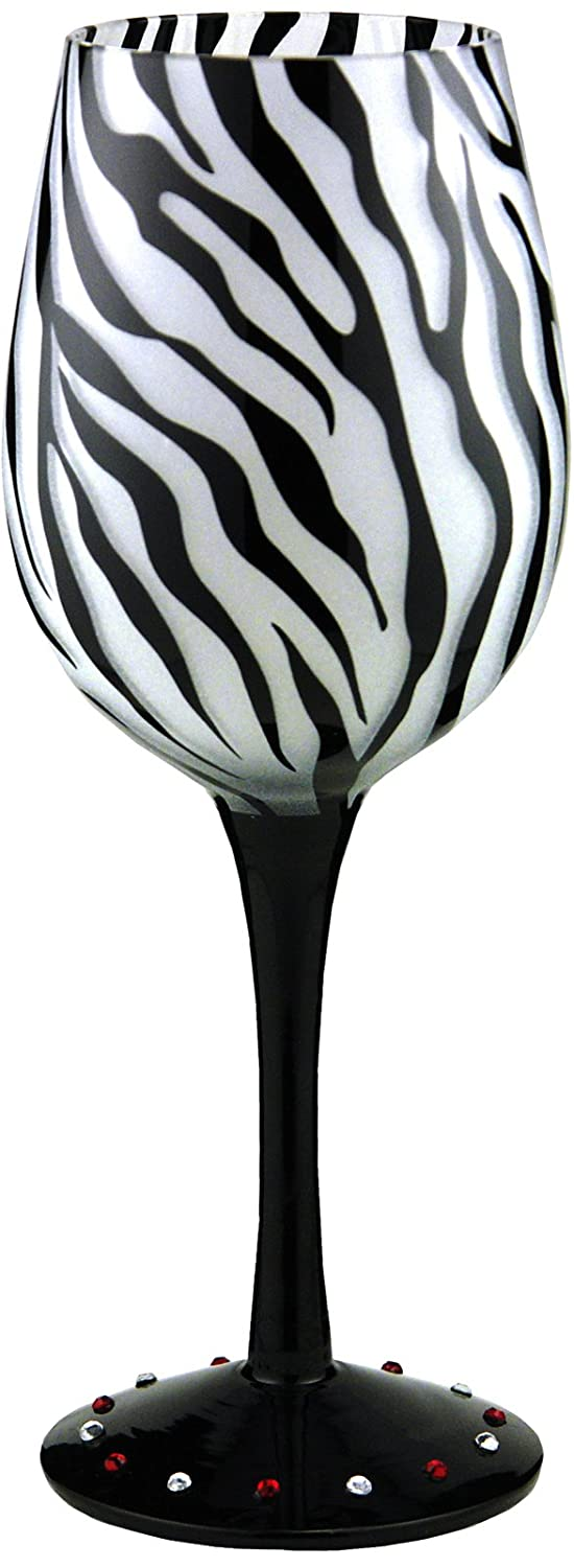 Zebra Handpainted Wine Glass