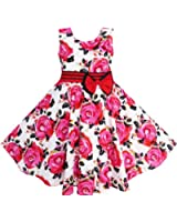 Girls Dress Red Rose Party Summer Sundress Cotton Size 6-12 Years