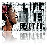 "Wall26 ""Life is Beautiful"", Thierry Guetta - Mr. Brainwash - Street Art/Guerilla - Banksy Inspired - Canvas Art Home Decor - 24x36 inches"