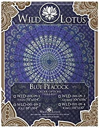 Wild Lotus Mandala Tapestry Blue Peacock Queen Size