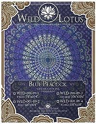 Wild Lotus Mandala Tapestry Blue Peacock Twin Size