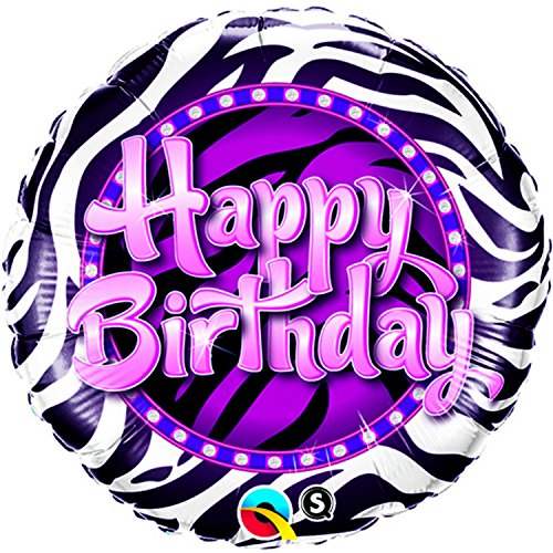 18 Inch Round Happy Birthday Zebra Print Foil Balloon