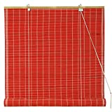 Oriental Furniture Bamboo Roll Up Blinds - Red - (36 in. x 72 in.)