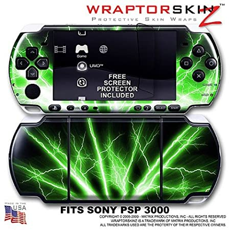 Lightning Green WraptorSkinz Skin and Screen Protector Kit fits Sony PSP 3000