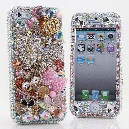 Great Sale BlingAngels® 3D Luxury Bling iphone 5 5s Case Cover Faceplate Swarovski Crystals Diamond Sparkle bedazzled jeweled Design Front & Back Snap-on Hard Case (100% Handcrafted by BlingAngels) (Large Diamond Butterfly with Pink Pearls Bow)