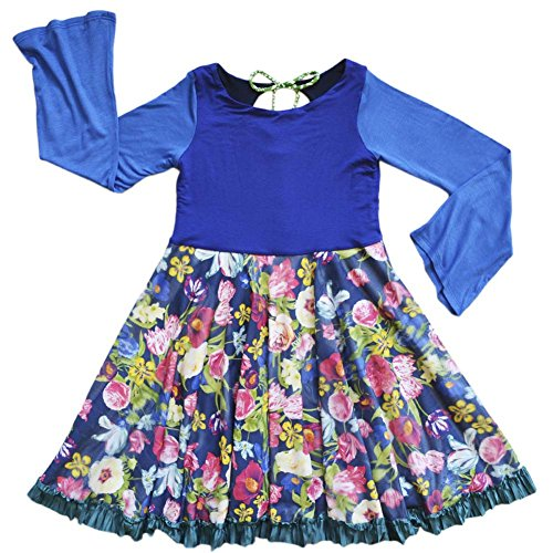 Duchess Twirl Dress Girls Blue Dress Long Sleeve Fun Pretty | Aristocratic Chic