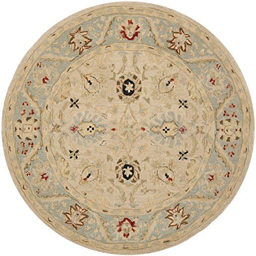 Safavieh Anatolia Collection AN569C Handmade Natural and Soft Turquoise Wool Round Area Rug, 6 feet in Diameter (6' Diameter)