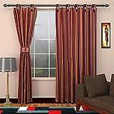 SEVEN STARS 1 Piece Cotton Striped Window Curtain - 5 ft, Maroon