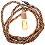Rope Pendant Lamp with Vintage Bulb