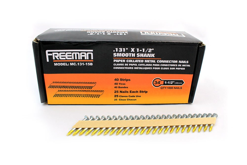 """Freeman MC.131-15B 35 Degree Metal Connector Positive Placement Brite Finish Paper Collated Framing Nails, 0.131"""" x 1 1/2"""""""