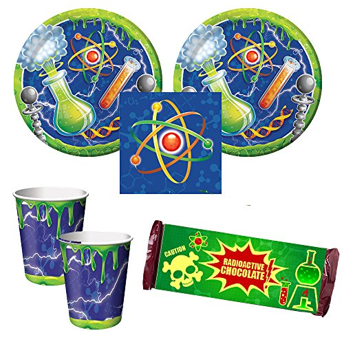 Mad Scientist birthday Party Supplies - 16 guests - dinner plates, napkins, cups, chocolate bar wrappers (Scientist Party Supplies compare prices)