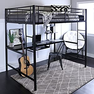 New Full Over Desk Black Metal Framed Loft Bed with Bookshelf