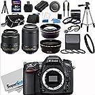 Nikon D7100 24.1MP DX-Format CMOS Sensor Digital SLR Camera (Black) Import Model with 18-55mm f/3.5-5.6G AF-S DX VR and 55-200mm f/4.5-5.6G ED VR AF-S DX NIKKOR Zoom Lenses + Wide Angle + Telephoto + Full 32GB Deluxe Accessory Bundle