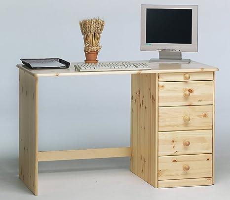 Meuble de bureau avec 5 tiroirs en pin coloris naturel laqué, 77 x 120 x 60 cm -PEGANE-