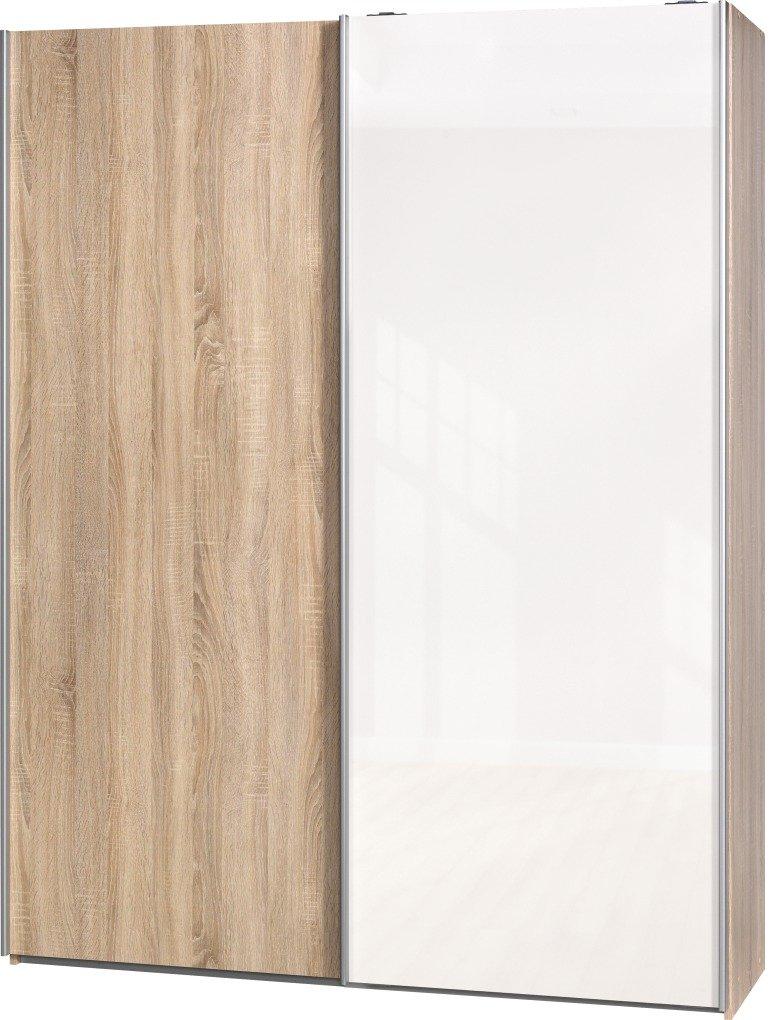 Schwebetürenschrank Soft Plus Smart Typ 41″, 150 x 194 x 42cm, Eiche/Eiche/Weiß hochglanz