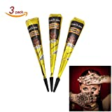 A-parts 3Pcs/set Temporary Indian Henna Tattoo Paste Cone for Body Art Drawing with a Free Henna Stencil Set, Color Black
