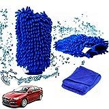 Boonor Wasserdicht Mikrofaser Waschhandschuh,weicher Korallen Autowaschhandschuh,Chenille Waschhandschuh, sowie Reinigungstuch Polierern  für Auto Reinigung,Blau