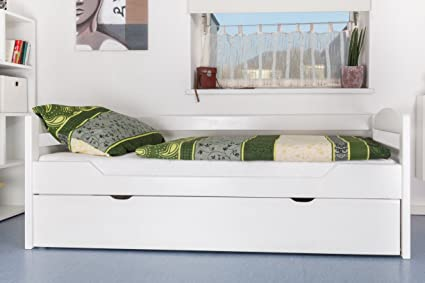 Stauraumbett / EInzelbett Easy Möbel K1/h/s, 2. Liegeplatz & 2 Abdeckblenden, Buche massiv Vollholz, 90 x 200 cm, weiß lackiert